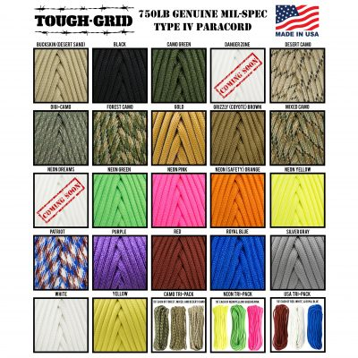 TOUGH-GRID-750-Paracord-Parachute-Cord-Colors-Type-IV